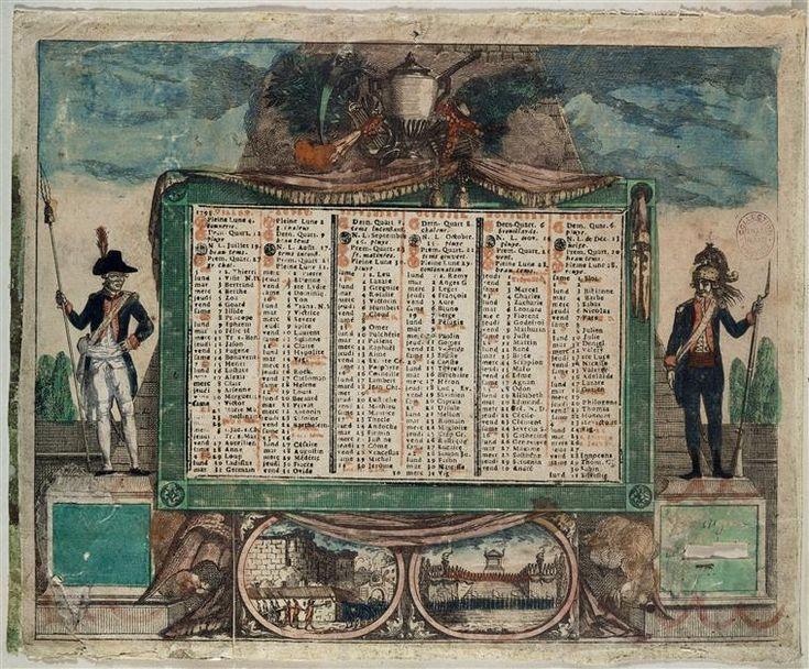 Calendrier révolutionnaire de juillet à décembre 1792. Anonyme.