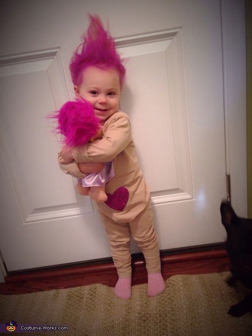 Alexis: Arianna is wearing a Treasure Troll costume, she's one year old. The idea came about when we bought a Treasure Troll Doll at a yard sale this fall. She instantly...