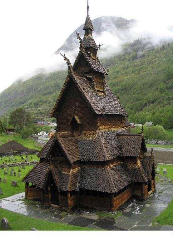 900 years old wooden Borgund Stave Church in Norway