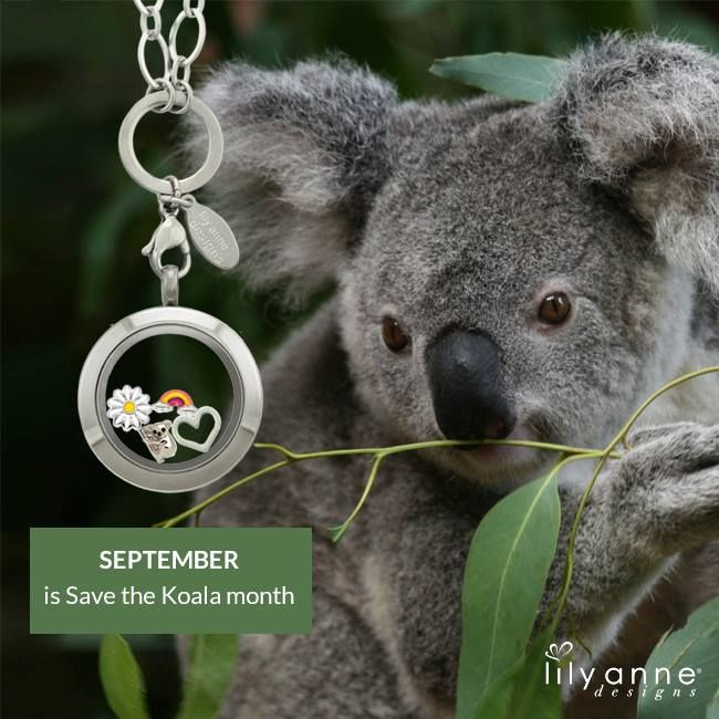 September is Save the Koala month. Be sure to wear the koala charm in your locket during September! #LilyAnneDesigns #SaveTheKoala #AustralianWildlife