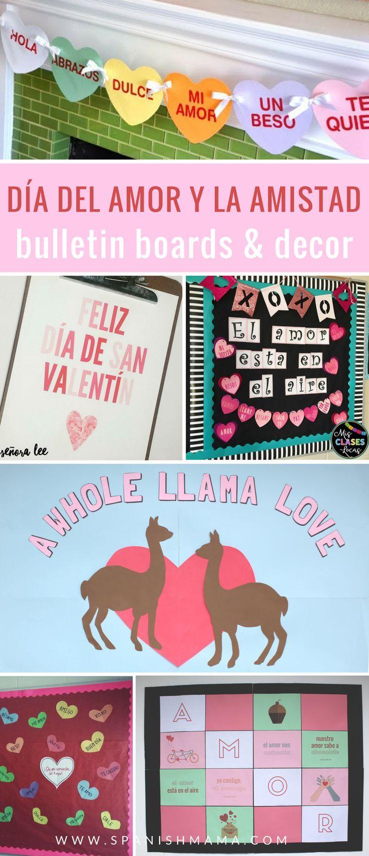 Spanish Valentine's Day Bulletin Board ideas and decor. Find fun ideas for decorating your classroom for Día de San Valentin / Día del amor y la amistad.