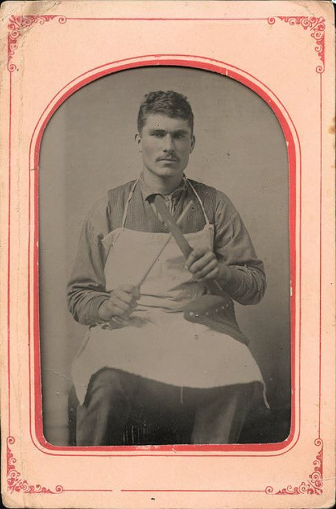 ca. 1870's, [tintype portrait of a butcher sharpening his knife] via Diabolus, Etsy