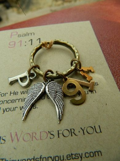 Psalm 91:11 keychain ~ For He shall give His angels charge over thee, to keep thee in all thy ways.