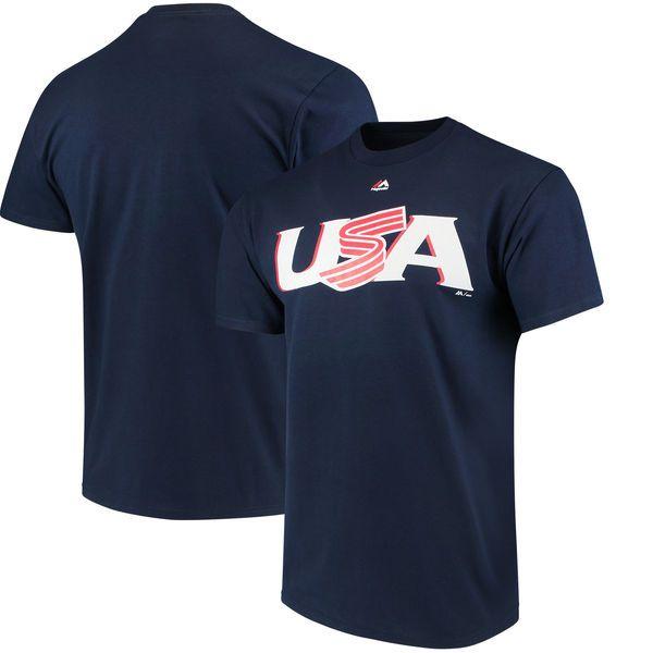 USA Baseball Majestic 2017 World Baseball Classic Wordmark T-Shirt - Navy - $24.99