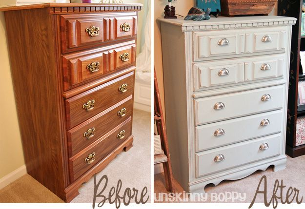 Painting Furniture tutorial:  Before & After Painted Chest of Drawers by Unskinny Boppy