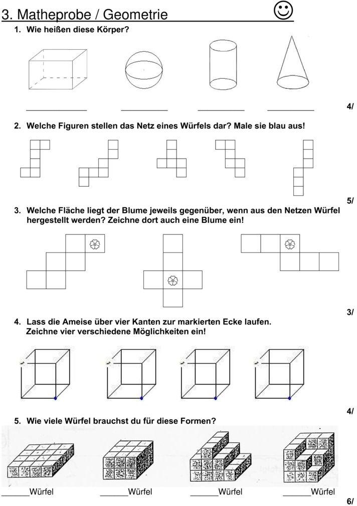 Klassenarbeit zu Geometrie #Mathematik #Unterricht #Grundschule