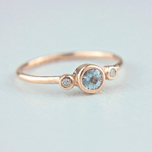 Aquamarine and Diamond Ring 14k Rose Gold – Manari Design