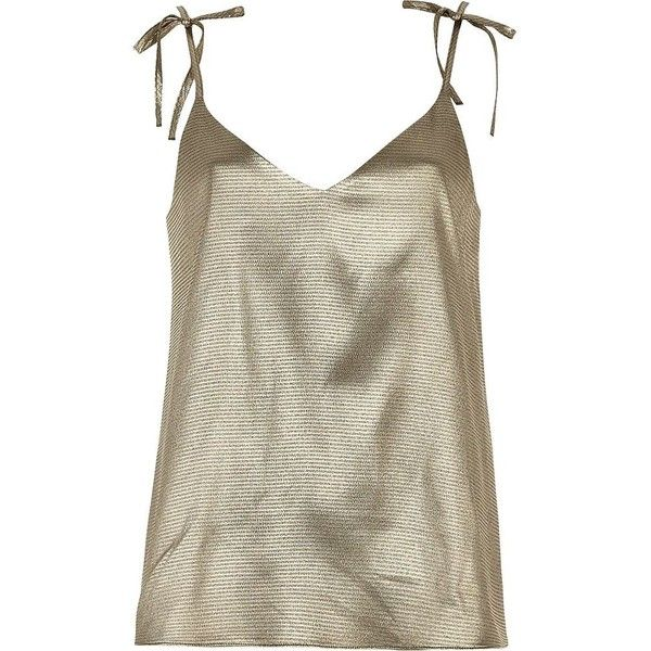 River Island Gold metallic cami top (£29) ❤ liked on Polyvore featuring tops, cami / sleeveless tops, gold, women, cami tank, gold metallic top, cami tank tops, camisole tank top and gold tank top