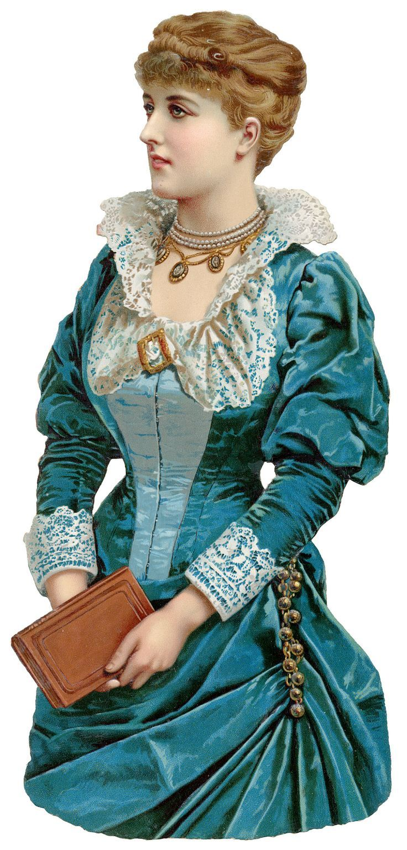 Beautiful Victorian Lady - vintage paper scrap: