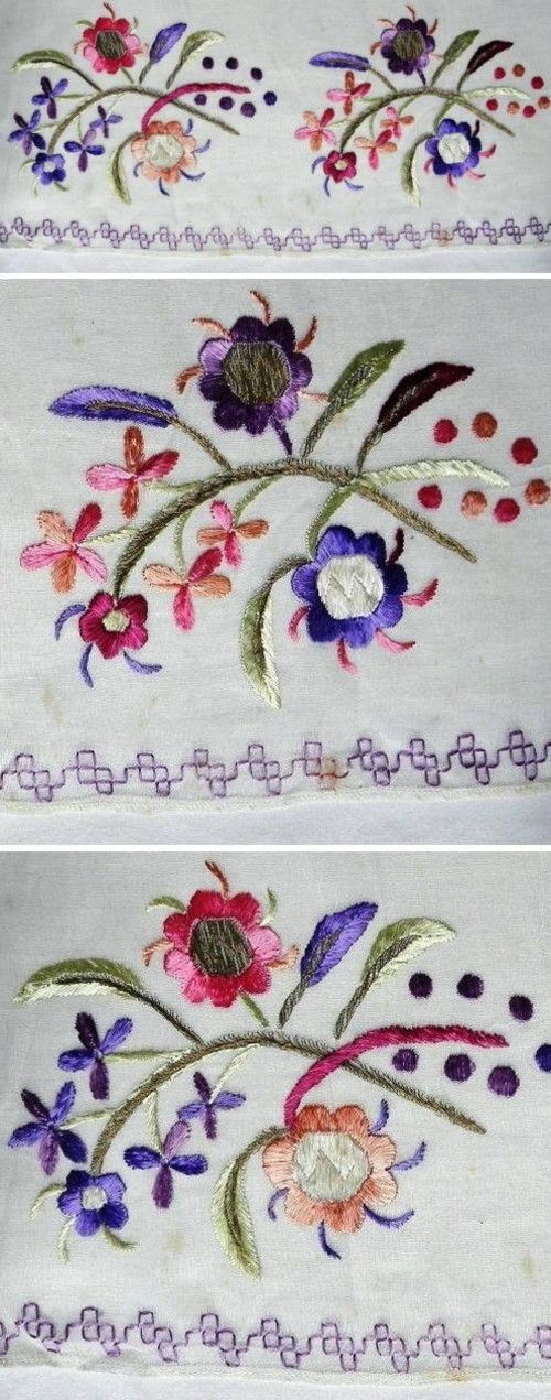 Details of a large embroidered headscarf, Crimean Tatar, probably from Romania, c. early 20th century.  Called 'marama'.  Embroidered on cotton (muslin), 80 x 138 cm.  Two stems of stylized flowers and grapes: each motif repeated 3 times along the narrower edge of fabric.  Embroidery height (from the tip of flowers to the edge of cloth): 21 cm.  Border in double running stitch (a common design in Crimean Tatar embroidery). (The Asiye-Zeynep Collection, Washington DC).