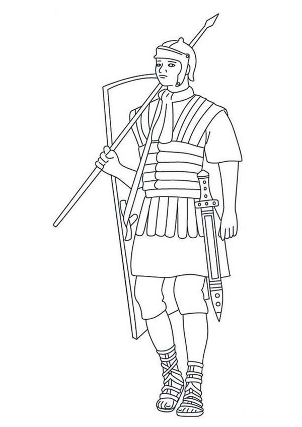 A Typical Roman Soldier Coloring Page Roman Soldiers Coloring