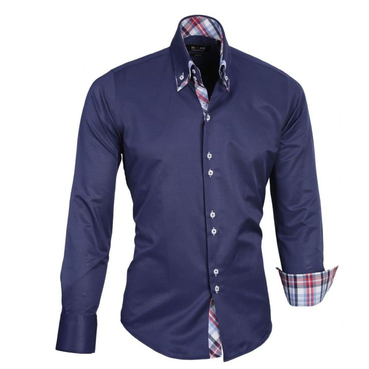 Shop online from our beautifully tailored Farrabi shirts. Button down – Chequered Collar Slim Fit Formal Double collar dress shirt navy. Check out our online store for more!