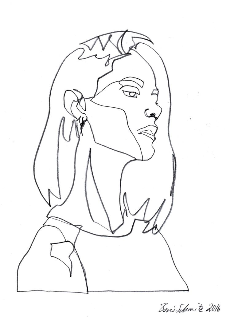 "Contour Line Drawing Of A Face : ""gaze continuous line drawing by boris schmitz art"