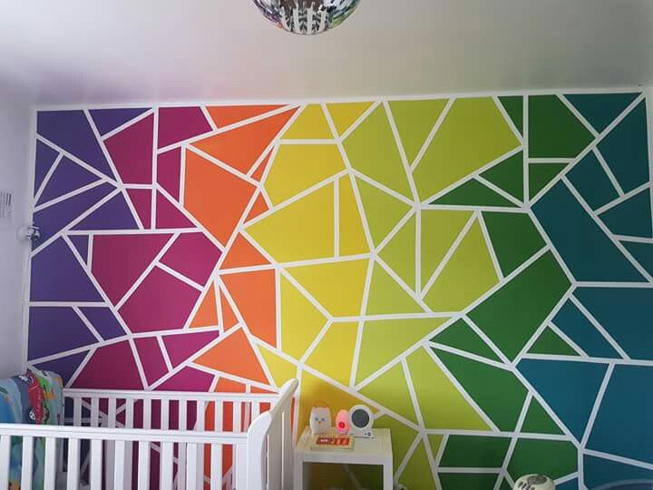 Vibrant Rainbow Wall Painting Idea For Kids Teen Room D House In