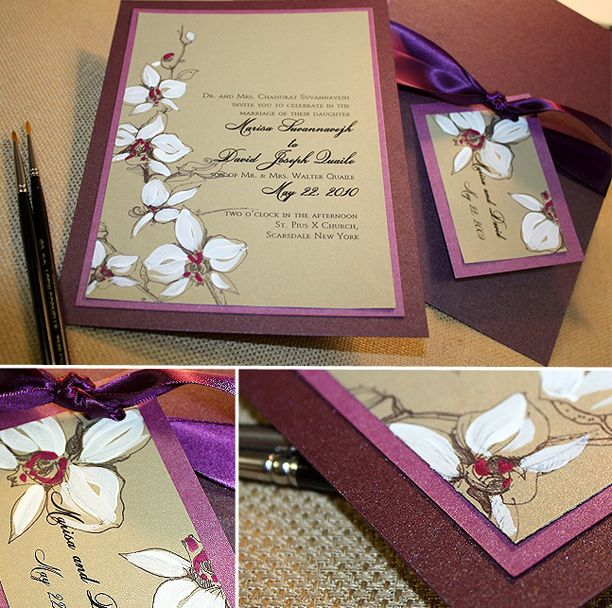 Gold Custom Seating Card, White Orchid And Custom Hand Painted Wedding  Invitation, Program, Seating Card, Menu