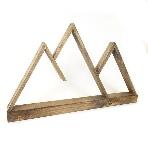 Wooden 'Jonah' Mountain Shelf, Nature Decor, Cabin Decor, Hanging Shelf, Wooden Mountain, Rustic, Wall Art Gifts, Custom Colors