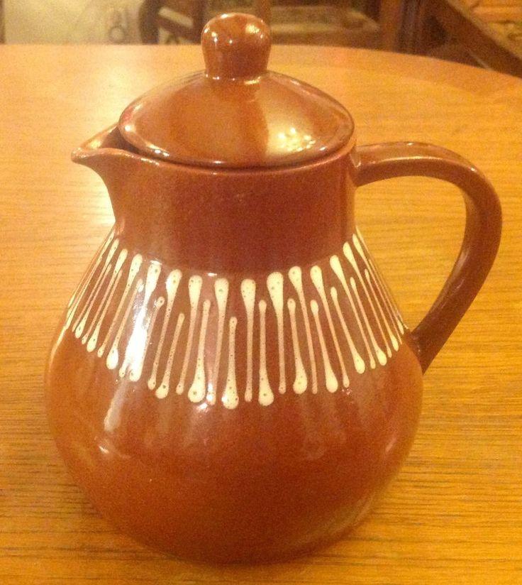 Teekanne/Keramik Kanne/Kaffeekanne/Kaffee, Teeservice/ Bunzlau ? Braun mit Crem in Antiquitäten & Kunst, Porzellan & Keramik, Keramik   eBay!