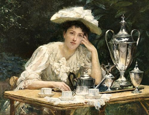 Unknown (Russian) Lady Taking Tea Late 19th... - still life quick heart