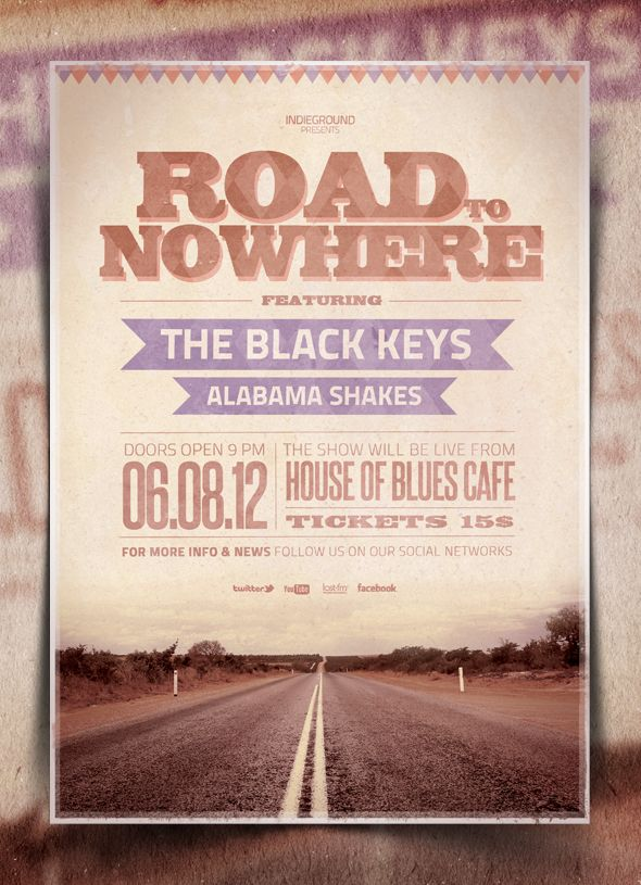 """""""Road to Nowhere"""" – This flyer was designed to promote a Rock / Folk / Blues / Country music event, such as a gig, concert, festival, party or weekly event in a music club and other kind of special evenings. This poster can also be used for a band's new album promotion and other advertising purposes."""