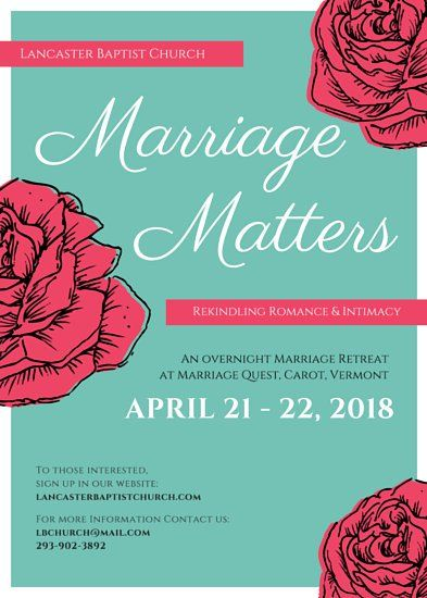Roses Marriage Retreat Church Flyer