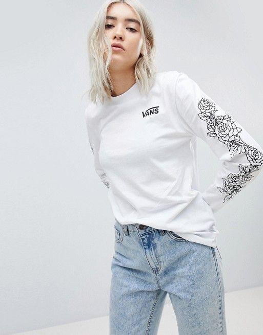 5ec45c58 Vans Long Sleeve T-Shirt With Rose Print Arm | Clothes | Vans ...
