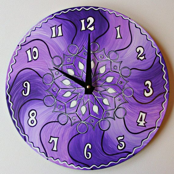 Violet Riot Clock - Geometric Psychedelic Wall Clock made from Recycled Vinyl Record. Hand Painted Bohemian Home Decor in Purple and White