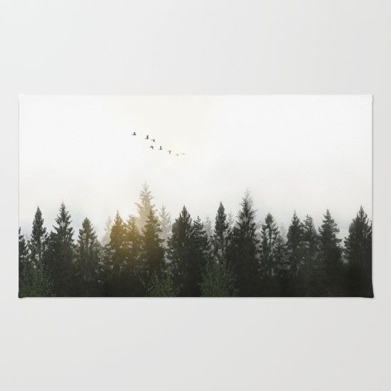 Forest Rug by Nicklas Gustafsson #nature #forest #landscape #photography #digitalmanipulation #doubleexposure #birds #serene #calm #rug #homedecor