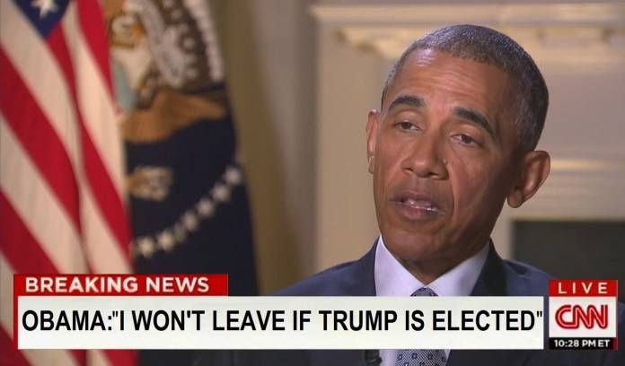 "#1 Barack Obama has sensationally told CNN's Wolf Blitzer that he will NOT vacate the Oval office if Donald J. Trump is elected the 45th President of the United States. The current president claims he is ""fully prepared"" to ignore the popular vote if it means stopping Trump, having found what he b"