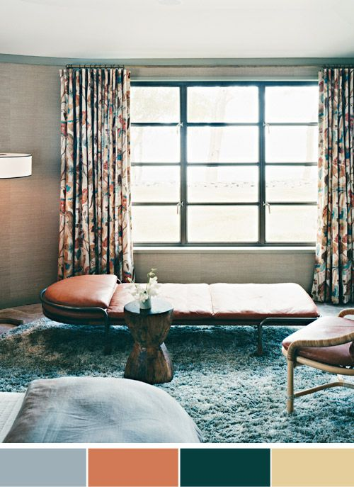coco+kelley: A PALETTE TO PLAY ONColors Pallets, Colors Combos, Fall Colors, Blue Shag, Marthastewart Decor, Colors Palettes, Master Bedrooms, Martha Stewart, Interiors Decline