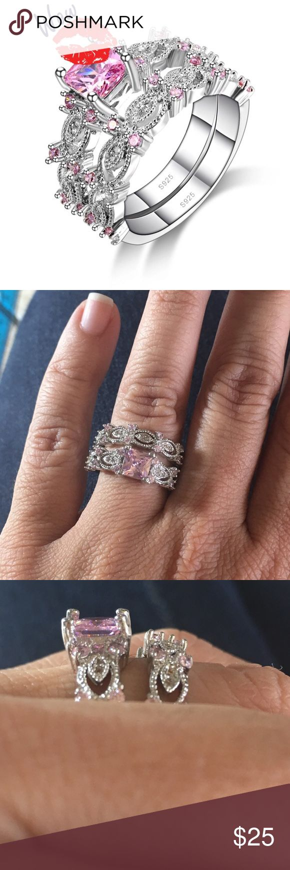 🌷Pink CZ Sterling Silver Ring🌷 A gorgeous ring set that has many meanings...either for engagement, wedding or just as an accessory, this set fits right in! Elegant with pink CZ and stamped 925 inside ring. Size 7. Jewelry Rings