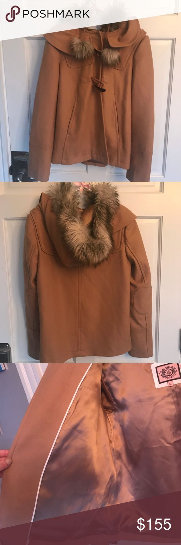 SALE*** Juicy Couture Faux Fur Pom Pom P Coat🧥 Gorgeous NWT Brand New W/Out Tags Juicy Couture Size Medium P Coat with faux fur hood and hanging Pom poms. This Coat is SO cute AND warm! Great for the holidays and date nights during the season! Never worn! Used for a trunk show! Comes from smoke free pet free house! Make me an offer! Juicy Couture Jackets & Coats Pea Coats