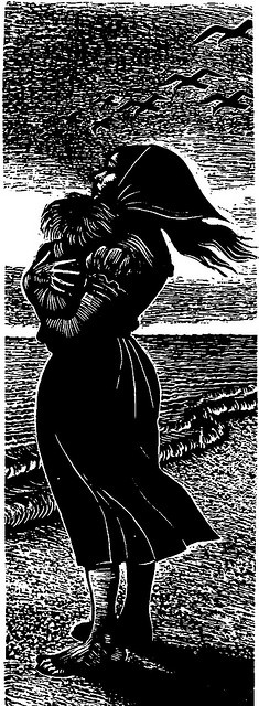 Mother & child on shore wood engraving by Fritz Eichenberg