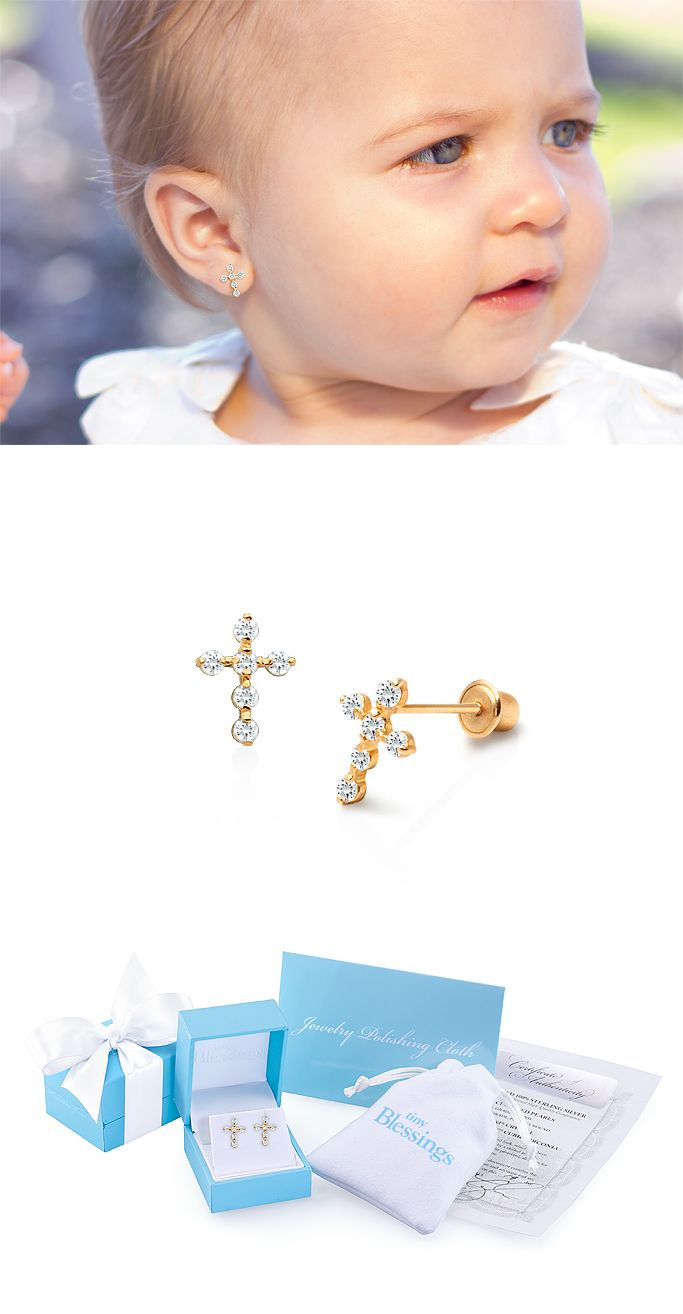 Perfect Little Baby Christening Gift. Look at the amazing gift packaging! Definite great jewelry gift for Baptism or Christening. 14k Gold pave cross screw back earrings for baby.