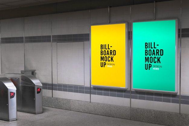 Billboard Mockup In Subway Or Metro Station Billboard Mockup Billboard Mockup