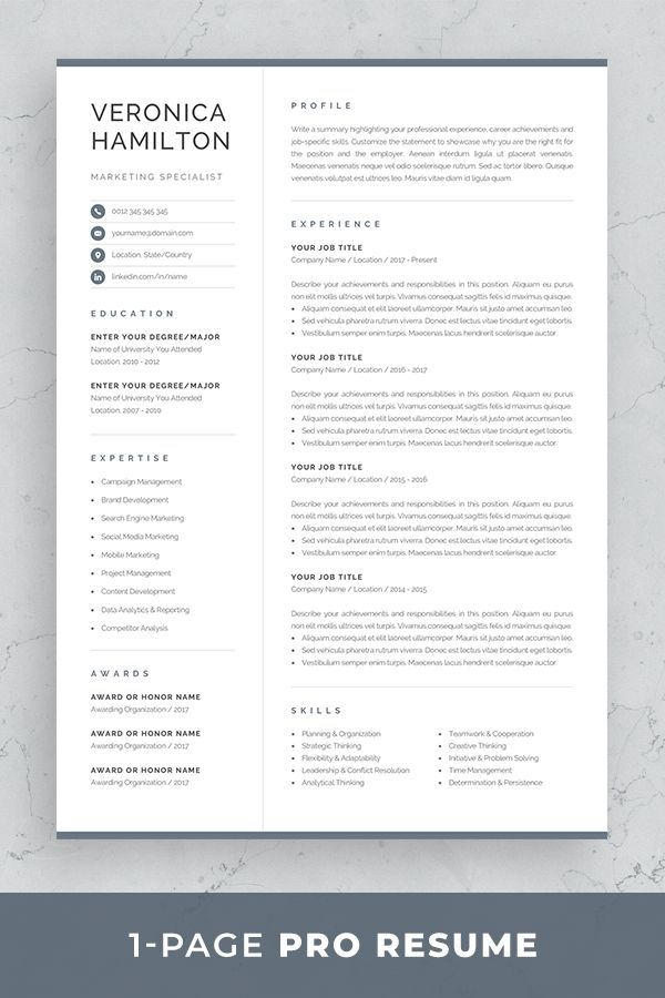 Professional Resume Template Compact 1 Page Resume Template Modern One Page Cv For Word Mac Pages Instant Download Veronica One Page Resume Template One Page Resume Resume Template Professional