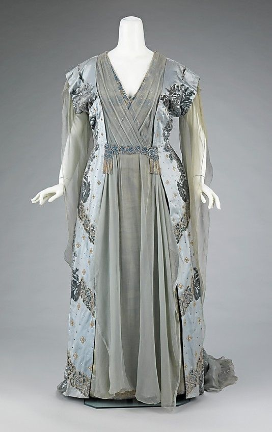 Dress (Tea Gown).  House of Worth (French, 1858–1956).  Designer: Attributed to Jean-Philippe Worth (French, 1856–1926). Designer: Attributed to Jean-Charles Worth (French, 1881–1962). Date: ca. 1910. Culture: French. Medium: silk, rhinestones, metal. Dimensions: Length at CB: 68 in. (172.7 cm).
