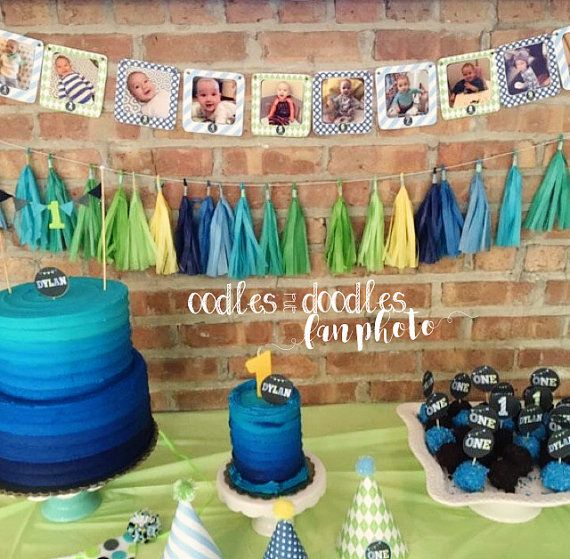First Year Photo Banner | Boy's Blue and Green Birthday Party | Party Printables by Oodles and Doodles | Oodles-and-Doodles.com | OandD.etsy.com