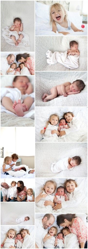 Natural and Lifestyle Newborn Baby Photos- poses for family of 5 with newborn baby.  Natural light and soft colors and lots of natural expressions in this newborn baby and family photo session.