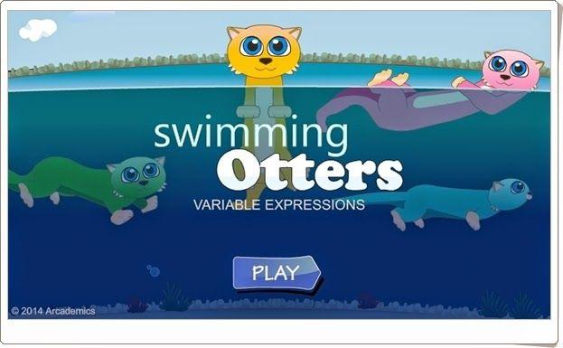 """En la """"Carrera de natación de nutrias"""" tu nutria puede ser vencedora si encuentra con rapidez el factor que falta en multiplicaciones sencillas."""