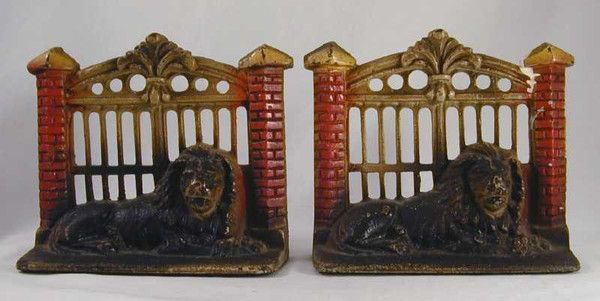 Antique Painted Cast Iron Bookends Lion in Front of Gate