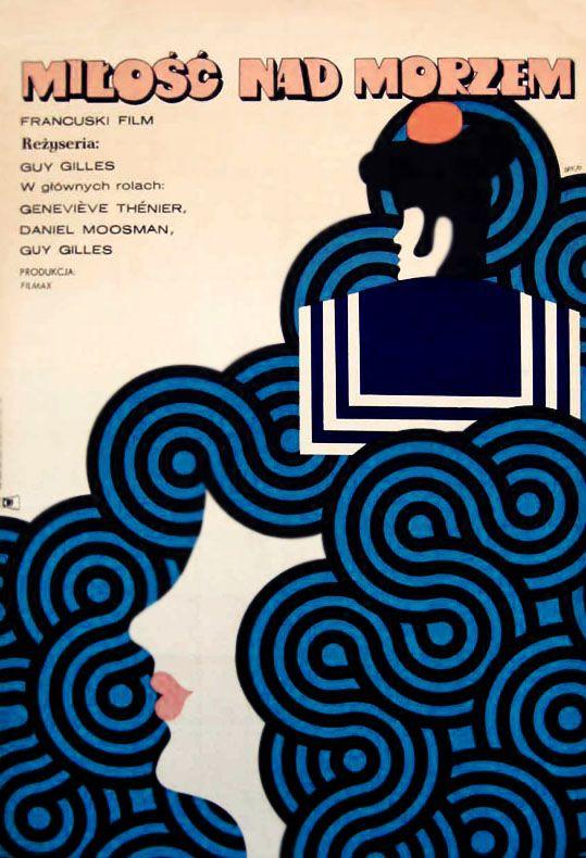Polish Poster 1970 Maciej Zbikowski - L'Amour a la mer (Love at Sea)