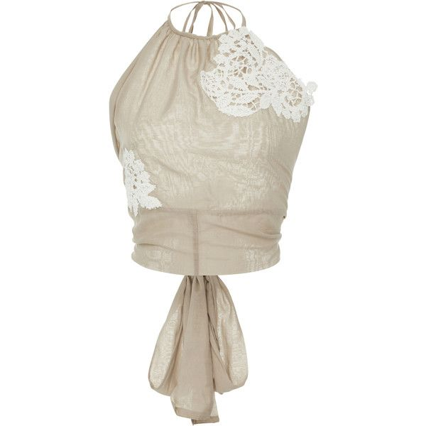 Lila Eugenie  Lace-appliqued halterneck top (2.399.220 IDR) ❤ liked on Polyvore featuring tops, tan, lace top, lace halter top, tie halter top, tan top and white lace top