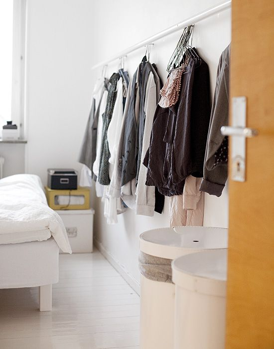 no closet space? then showcase the clothes as art!Wall Spaces, Wall Hanging, Open Book, Spaces Saving, Clothing Accessories, Bedrooms, Clothing Hangers, Laundry Room, Closets Spaces