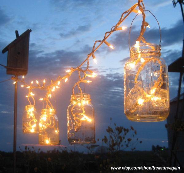 Twinkle lights in mason jars