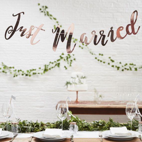 Just Married Rose Gold Banner Beautiful Script Wedding