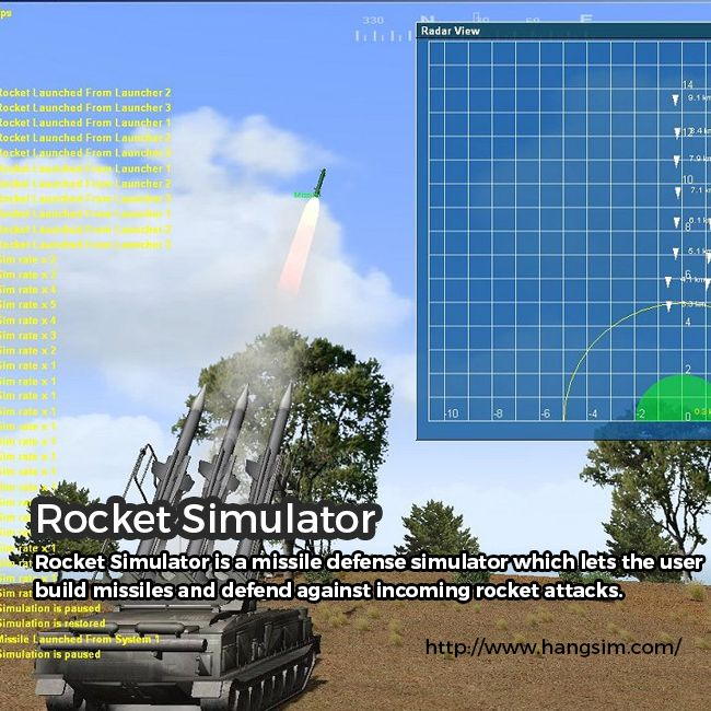 Do you want to know more about the workings of missile systems? Buy Rocket Simulator of Hang Sim! Created by Ilan Papini, the simulator is inspired by rocket attacks which Papini witnessed during the past decades in his hometown of Haifa and in Israel. It is actually a missile defense simulator which allows the user build missiles and defend against incoming rocket attacks. For more info, feel free to explore the website.    http://www.hangsim.com/