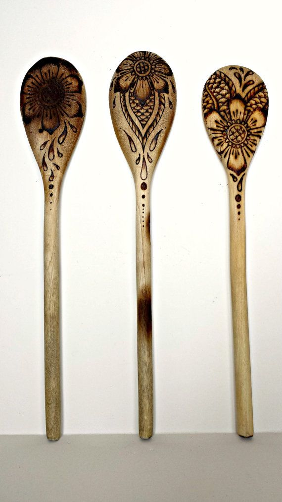 Wooden Spoon Set Woodburned Flower Mehndi Style by MadamMay, $25.00