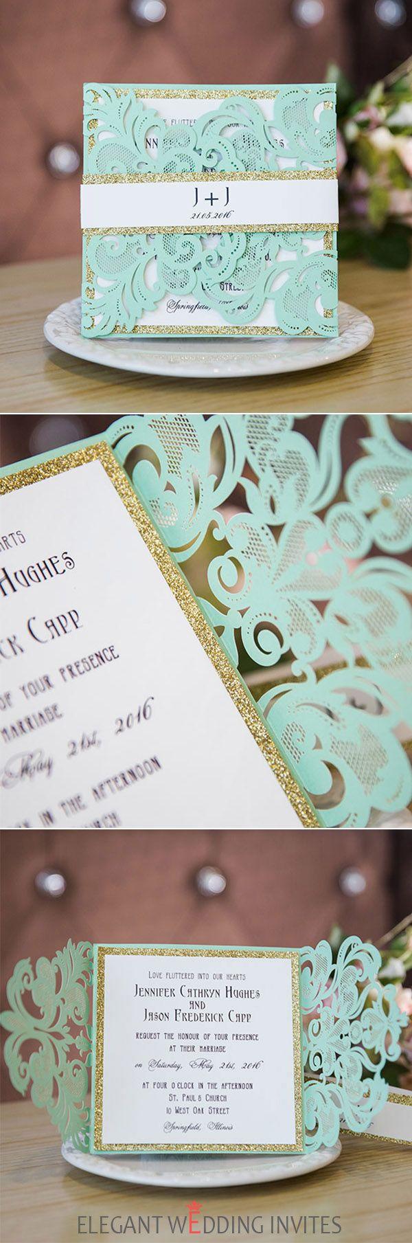 navy blue and kelly green wedding invitations%0A seafoam green glittery laser cut wedding invitations