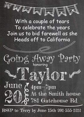 going Away Party Invitations Flag Chalkboard