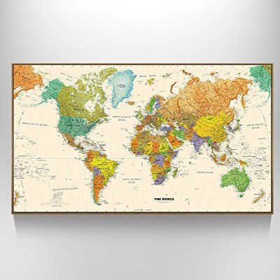 Creative Art - Large Size World Map Wall Art - Natural Framed Art Print Picture Wall Decor Home Interior - Map Picture with Floater Frame for Office Wall Decor